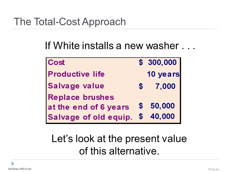 McGraw-Hill/Irwin Slide 42 The Total-Cost Approach If White installs a new washer... Let's look at the present value of this alternative.