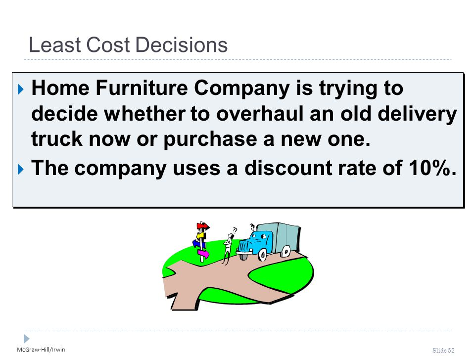 McGraw-Hill/Irwin Slide 52 Least Cost Decisions  Home Furniture Company is trying to decide whether to overhaul an old delivery truck now or purchase