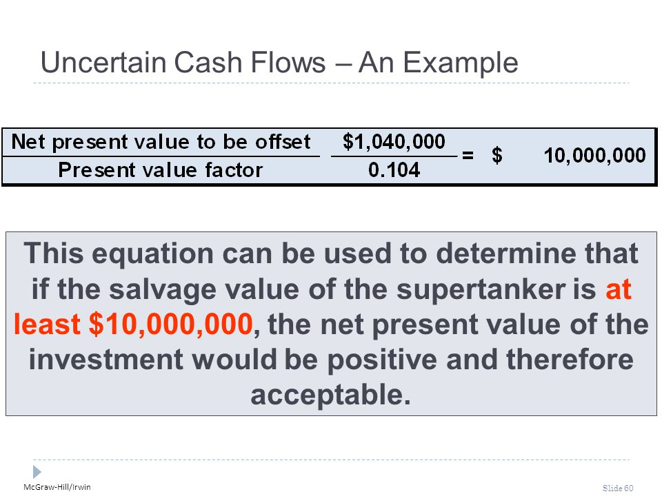 McGraw-Hill/Irwin Slide 60 Uncertain Cash Flows – An Example This equation can be used to determine that if the salvage value of the supertanker is at