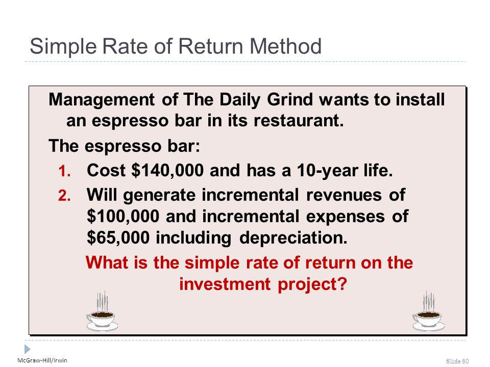 McGraw-Hill/Irwin Slide 80 Simple Rate of Return Method Management of The Daily Grind wants to install an espresso bar in its restaurant. The espresso