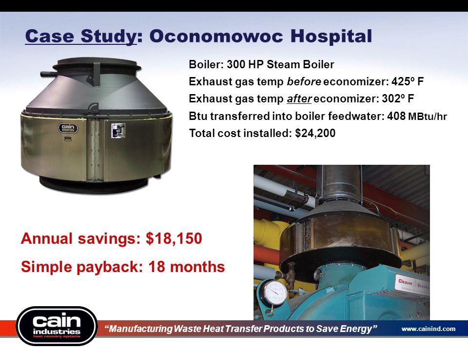 www.cainind.com Case Study: Oconomowoc Hospital Annual savings: $18,150 Simple payback: 18 months Boiler: 300 HP Steam Boiler Exhaust gas temp before