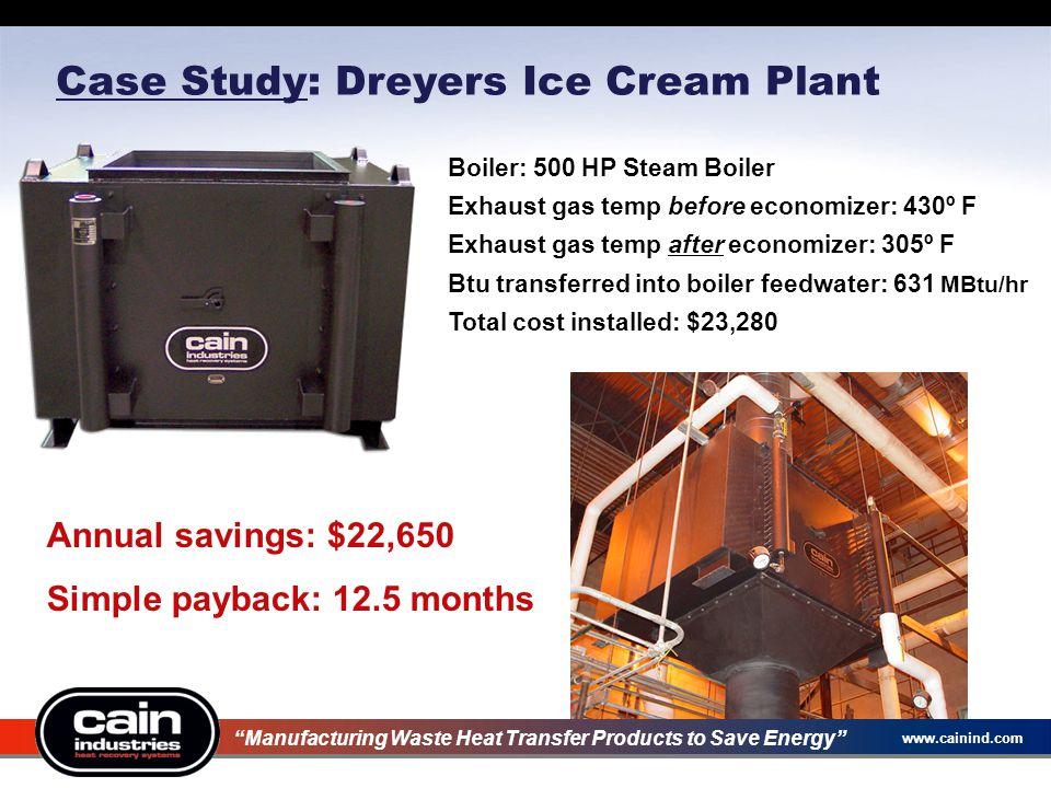 www.cainind.com Case Study: Dreyers Ice Cream Plant Annual savings: $22,650 Simple payback: 12.5 months Boiler: 500 HP Steam Boiler Exhaust gas temp b