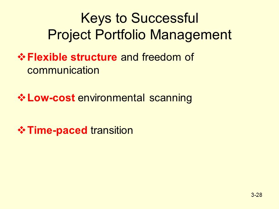 3-28 Keys to Successful Project Portfolio Management  Flexible structure and freedom of communication  Low-cost environmental scanning  Time-paced