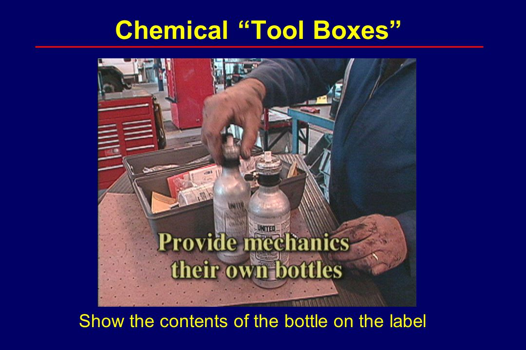 "Chemical ""Tool Boxes"" Show the contents of the bottle on the label"
