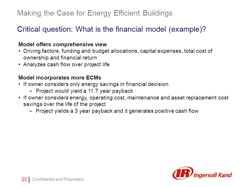 Confidential and Proprietary 20 Model offers comprehensive view Driving factors, funding and budget allocations, capital expenses, total cost of ownership and financial return Analyzes cash flow over project life Model incorporates more ECMs If owner considers only energy savings in financial decision – Project would yield a 11.7 year payback If owner considers energy, operating cost, maintenance and asset replacement cost savings over the life of the project – Project yields a 3 year payback and it generates positive cash flow Making the Case for Energy Efficient Buildings Critical question: What is the financial model (example)