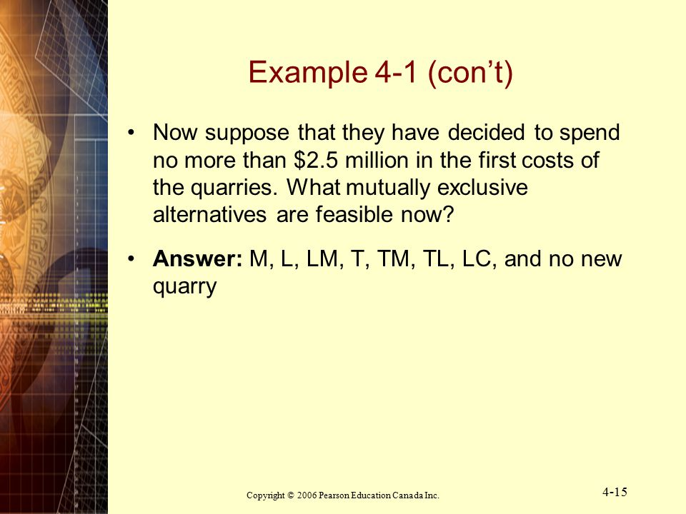 Copyright © 2006 Pearson Education Canada Inc. 4-15 Example 4-1 (con't) Now suppose that they have decided to spend no more than $2.5 million in the f