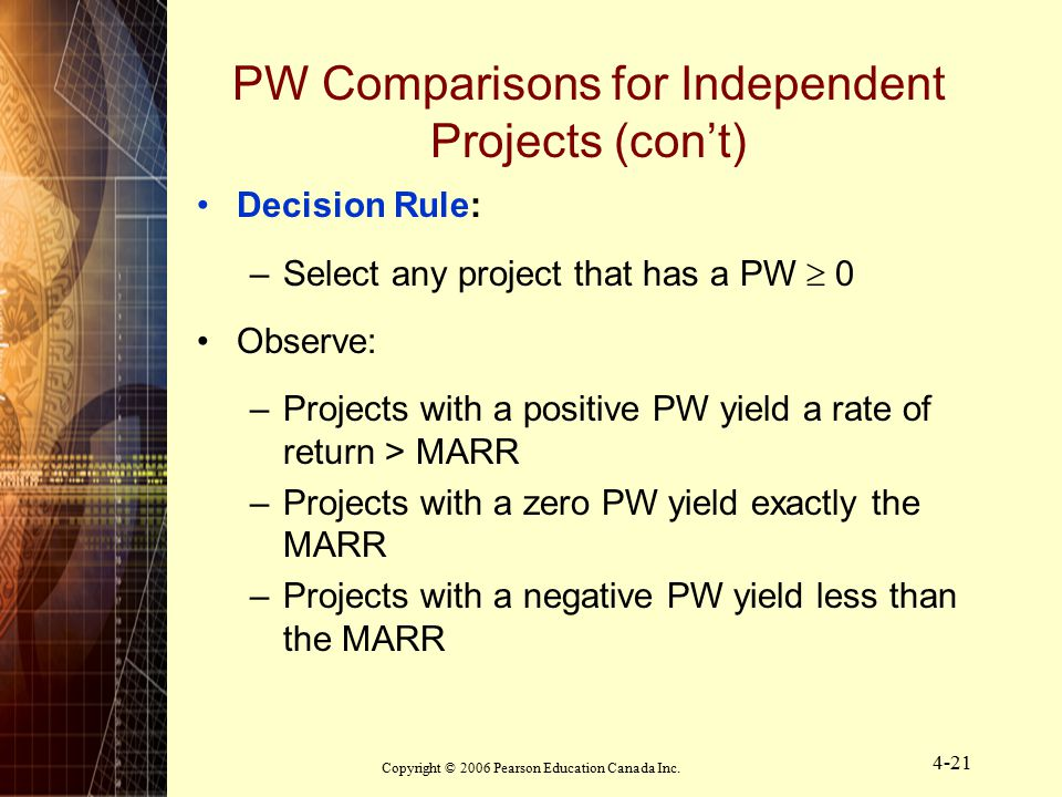 Copyright © 2006 Pearson Education Canada Inc. 4-21 PW Comparisons for Independent Projects (con't) Decision Rule: –Select any project that has a PW 