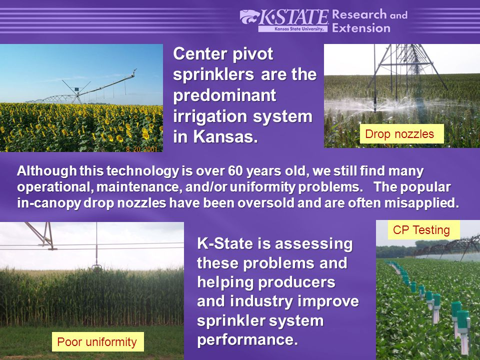 4 of 22 Variable rate irrigation (VRI), also known as Site Specific Irrigation (SSI) is an emerging center pivot sprinkler technology that may have some merit in Kansas.