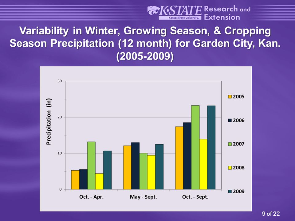 10 of 22 Variability in Relative Corn Yield with Irrigation Garden City 2005-2009 Crop yields vary greatly with irrigation and with weather conditions, and not only with in-season precipitation, but also with amounts received during the prior overwinter period.