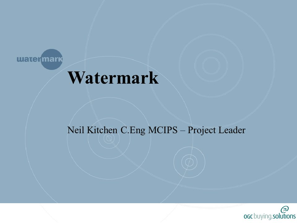 Topics Background to Watermark Benchmarking Project Results Saving Potential Case Studies C0 2 Targets Lessons learned Future of the Project