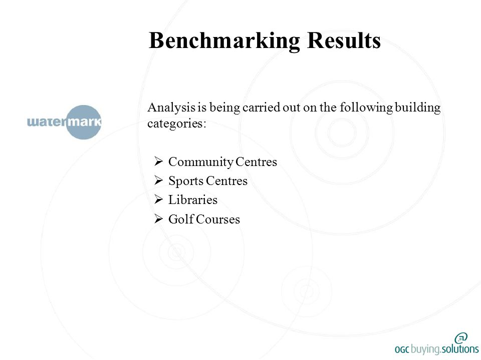Benchmarking Results Analysis is being carried out on the following building categories:  Community Centres  Sports Centres  Libraries  Golf Courses