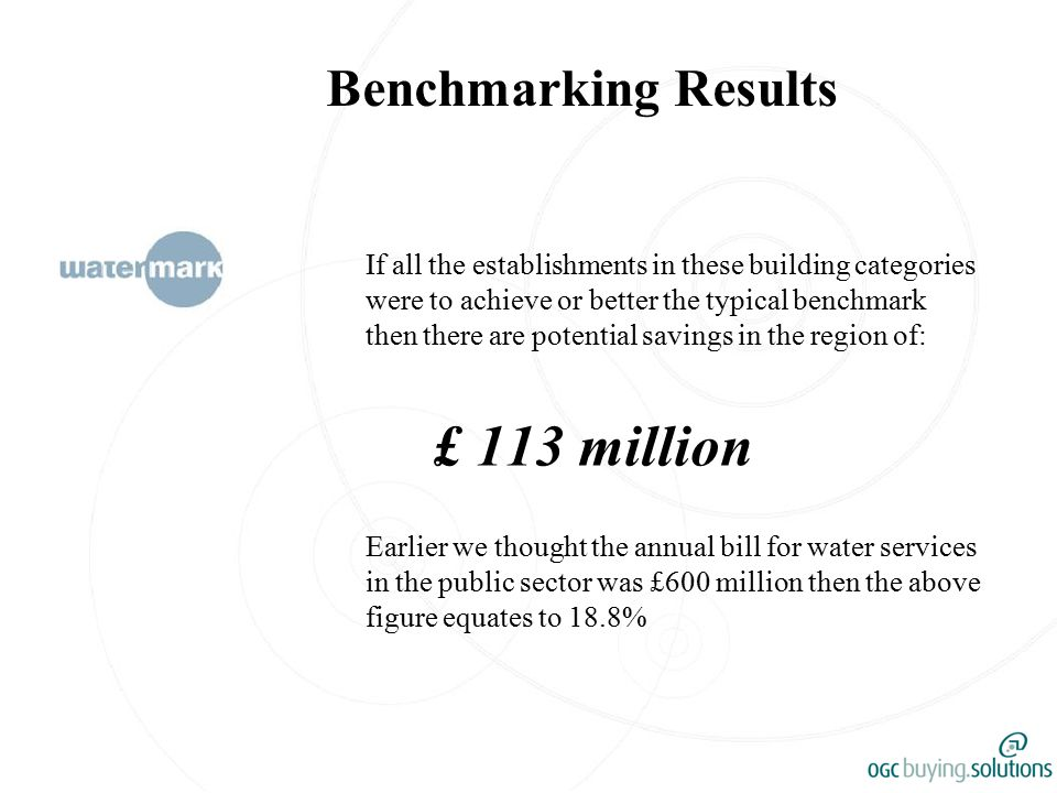 Benchmarking Results If all the establishments in these building categories were to achieve or better the typical benchmark then there are potential savings in the region of: £ 113 million Earlier we thought the annual bill for water services in the public sector was £600 million then the above figure equates to 18.8%