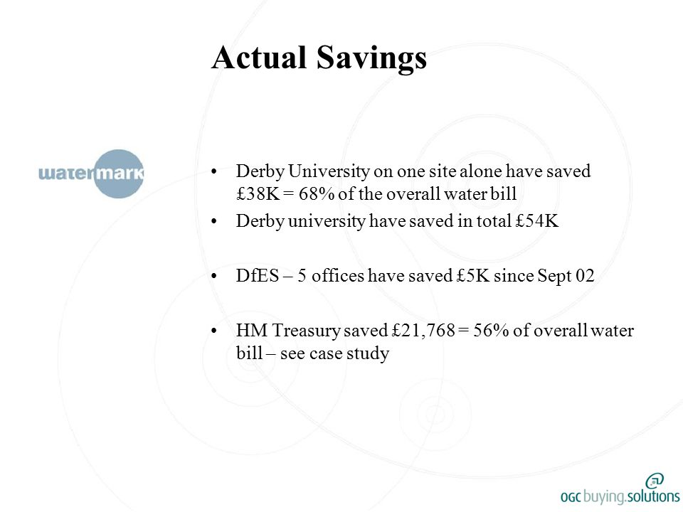 Actual Savings Derby University on one site alone have saved £38K = 68% of the overall water bill Derby university have saved in total £54K DfES – 5 offices have saved £5K since Sept 02 HM Treasury saved £21,768 = 56% of overall water bill – see case study