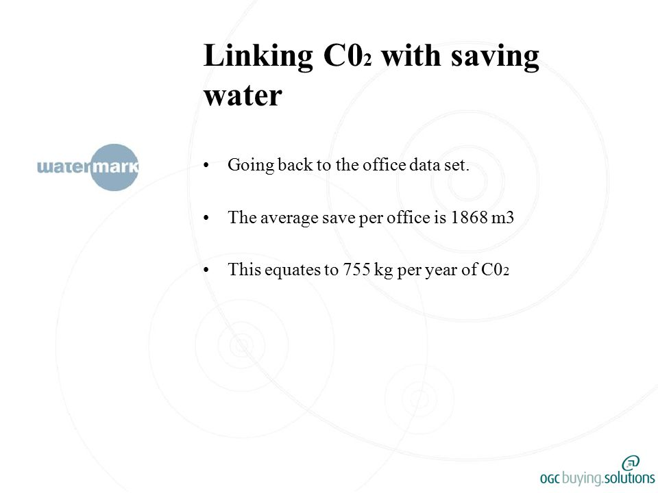 Linking C0 2 with saving water Going back to the office data set.