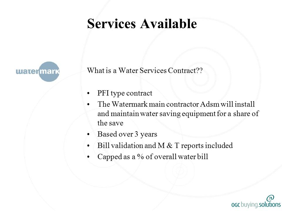 Services Available What is a Water Services Contract?.
