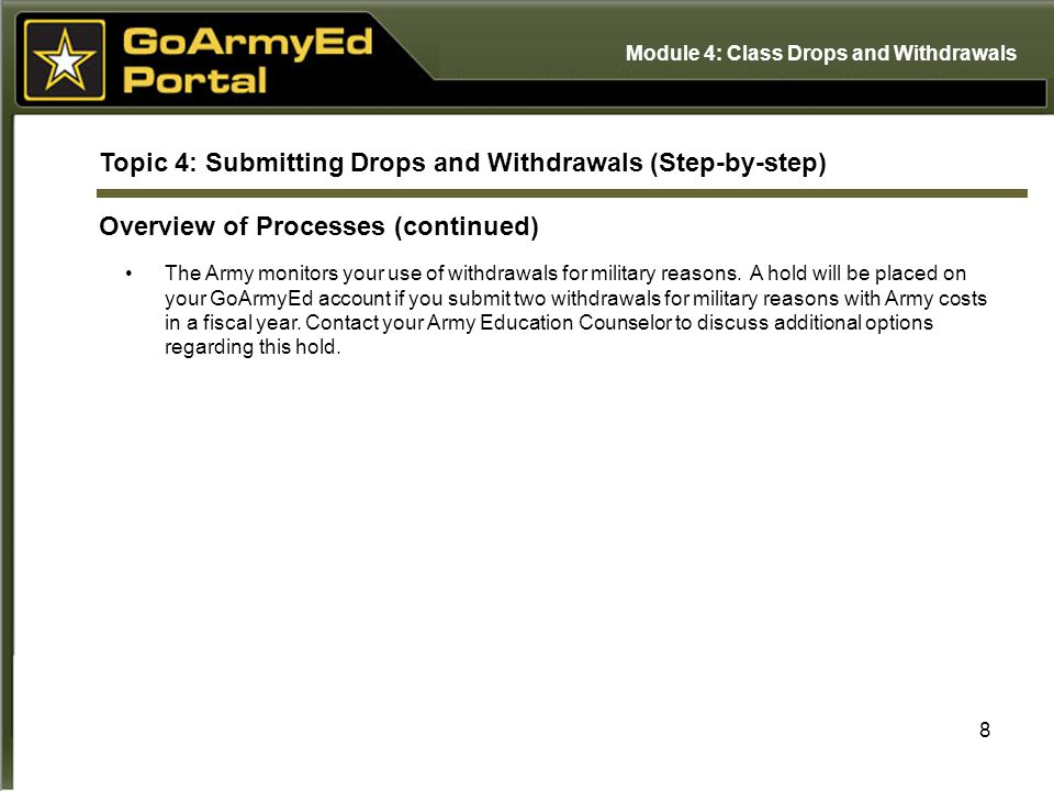 9 Topic 4: Submitting Drops and Withdrawals (Step-by-step) Step-by-step Instructions You can access the Step-by-step Instruction documents for Dropping/Withdrawing from a Class by selecting the View Reference Documents link in the Helpdesk Resources section on GoArmyEd.