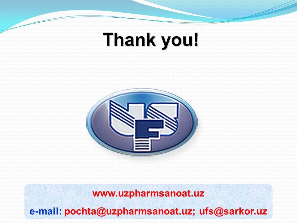 www.uzpharmsanoat.uz e-mail: pochta@uzpharmsanoat.uz; ufs@sarkor.uz Thank you!