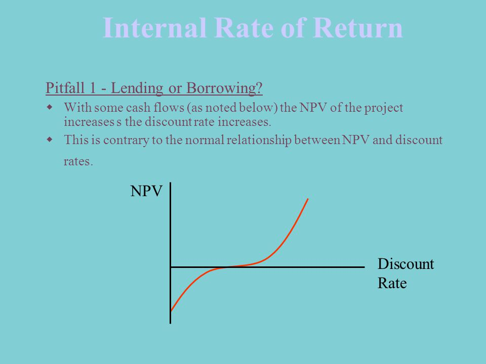 Internal Rate of Return Pitfall 1 - Lending or Borrowing?  With some cash flows (as noted below) the NPV of the project increases s the discount rate