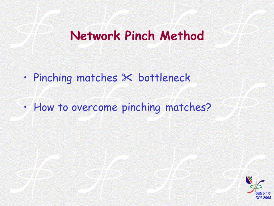 Network Pinch Method Pinching matches  bottleneck How to overcome pinching matches