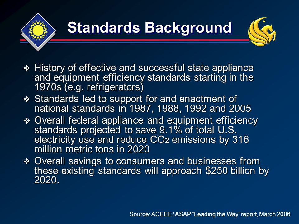 Standards Background  History of effective and successful state appliance and equipment efficiency standards starting in the 1970s (e.g. refrigerator