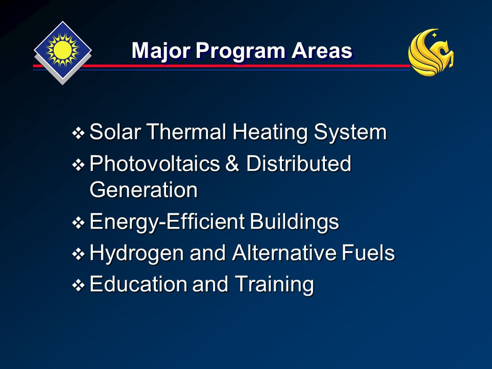 Major Program Areas  Solar Thermal Heating System  Photovoltaics & Distributed Generation  Energy-Efficient Buildings  Hydrogen and Alternative Fuels  Education and Training