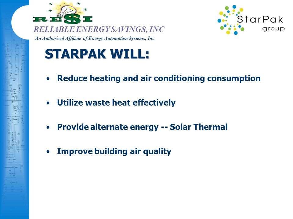 RELIABLE ENERGY SAVINGS, INC An Authorized Affiliate of Energy Automation Systems, Inc STARPAK WILL: Reduce heating and air conditioning consumption U