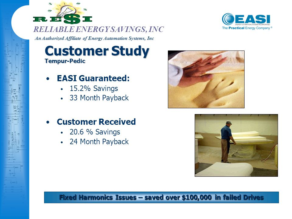 RELIABLE ENERGY SAVINGS, INC An Authorized Affiliate of Energy Automation Systems, Inc Customer Study Tempur-Pedic EASI Guaranteed: 15.2% Savings 33 M