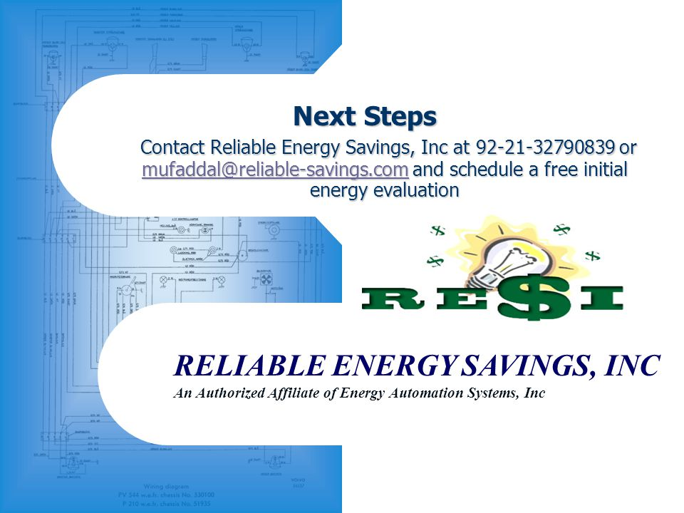 RELIABLE ENERGY SAVINGS, INC An Authorized Affiliate of Energy Automation Systems, Inc Next Steps Contact Reliable Energy Savings, Inc at 92-21-327908