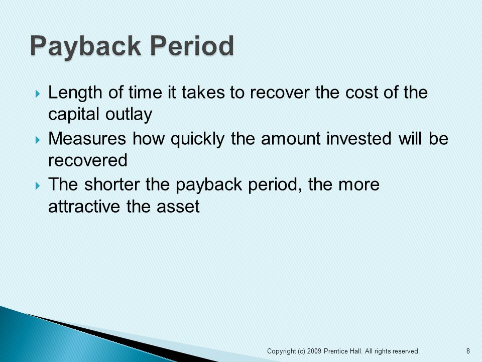 9 Amount invested Equal annual net cash inflows Expected annual net cash inflow Payback period Unequal annual net cash inflows Total net cash inflows until amount equals investment