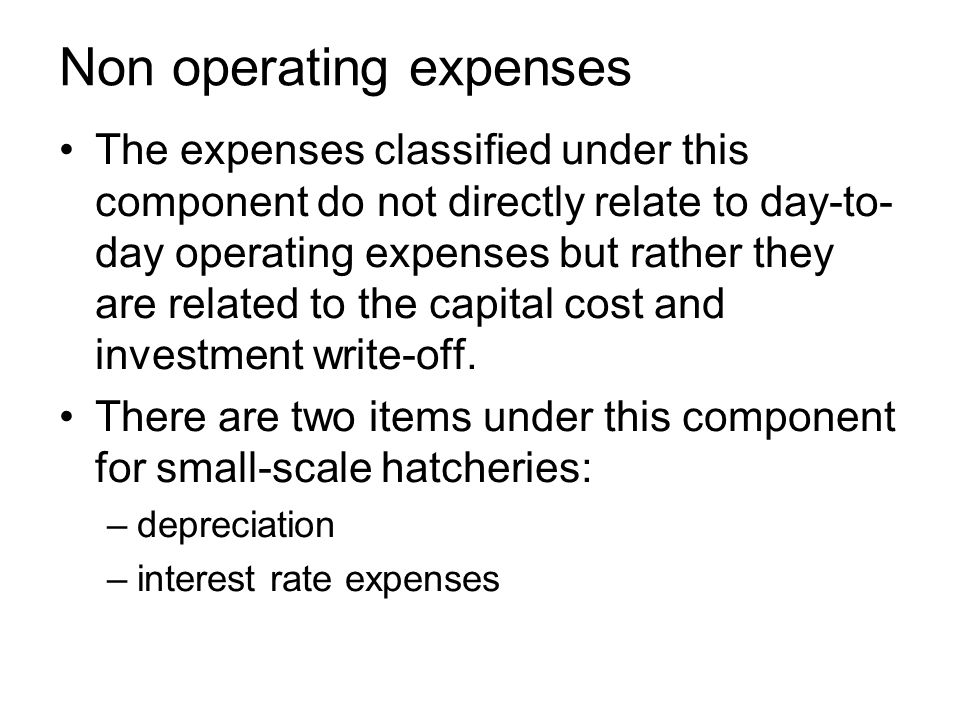 Non operating expenses The expenses classified under this component do not directly relate to day-to- day operating expenses but rather they are related to the capital cost and investment write-off.