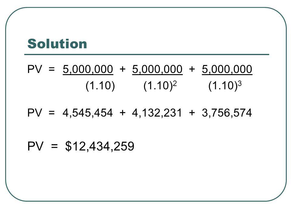 Solution PV = 5,000,000 + 5,000,000 + 5,000,000 (1.10) (1.10) 2 (1.10) 3 PV = 4,545,454 + 4,132,231 + 3,756,574 PV = $12,434,259