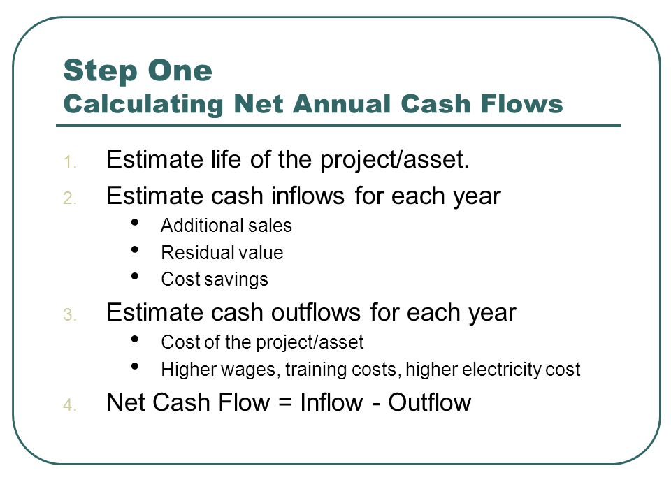 Step One Calculating Net Annual Cash Flows 1. Estimate life of the project/asset.