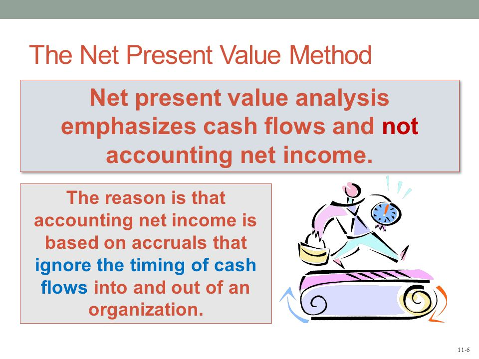 11-6 The Net Present Value Method Net present value analysis emphasizes cash flows and not accounting net income.