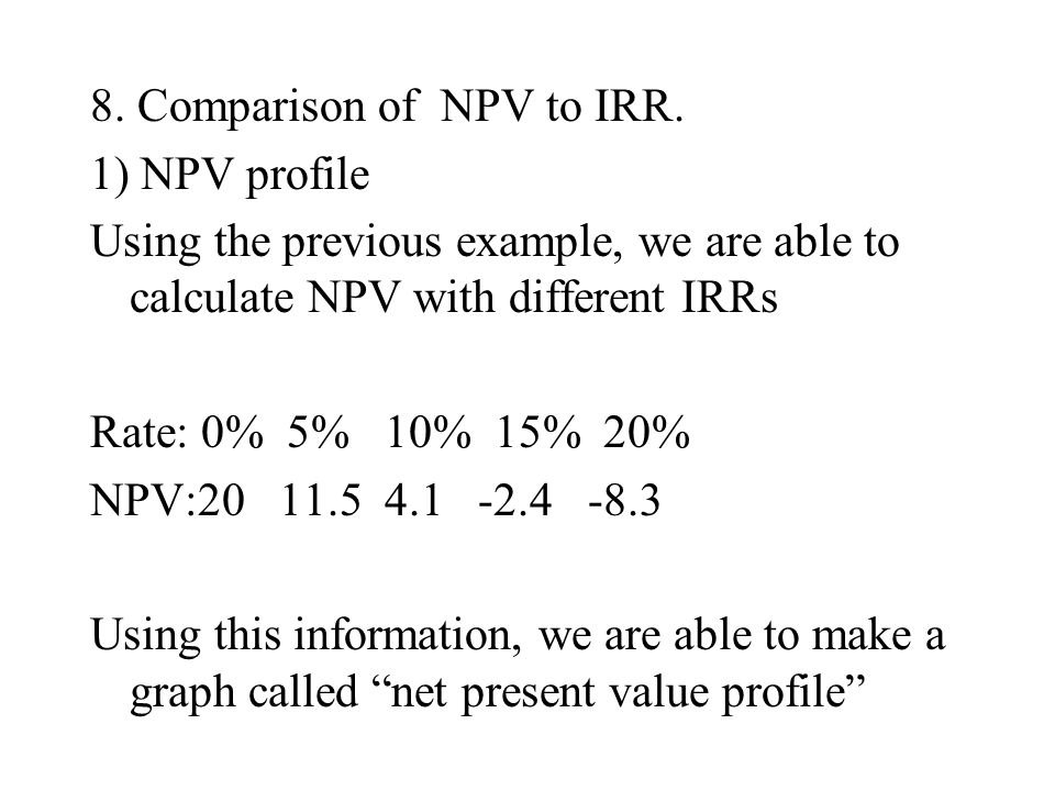 8. Comparison of NPV to IRR. 1) NPV profile Using the previous example, we are able to calculate NPV with different IRRs Rate: 0% 5% 10% 15% 20% NPV:2
