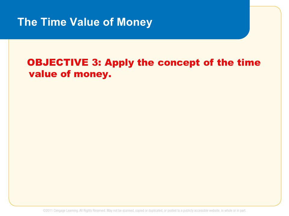 The Time Value of Money OBJECTIVE 3: Apply the concept of the time value of money.