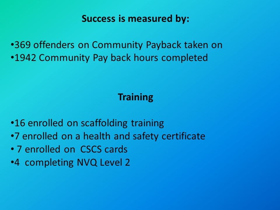 Success is measured by: 369 offenders on Community Payback taken on 1942 Community Pay back hours completed Training 16 enrolled on scaffolding training 7 enrolled on a health and safety certificate 7 enrolled on CSCS cards 4 completing NVQ Level 2