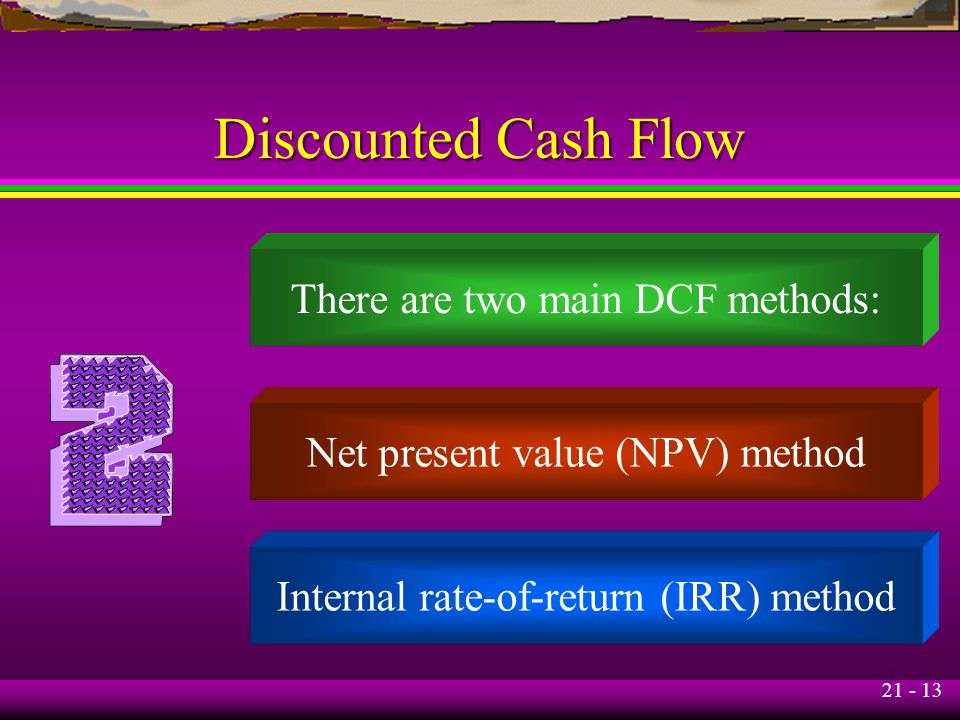 21 - 13 Discounted Cash Flow There are two main DCF methods: Net present value (NPV) method Internal rate-of-return (IRR) method