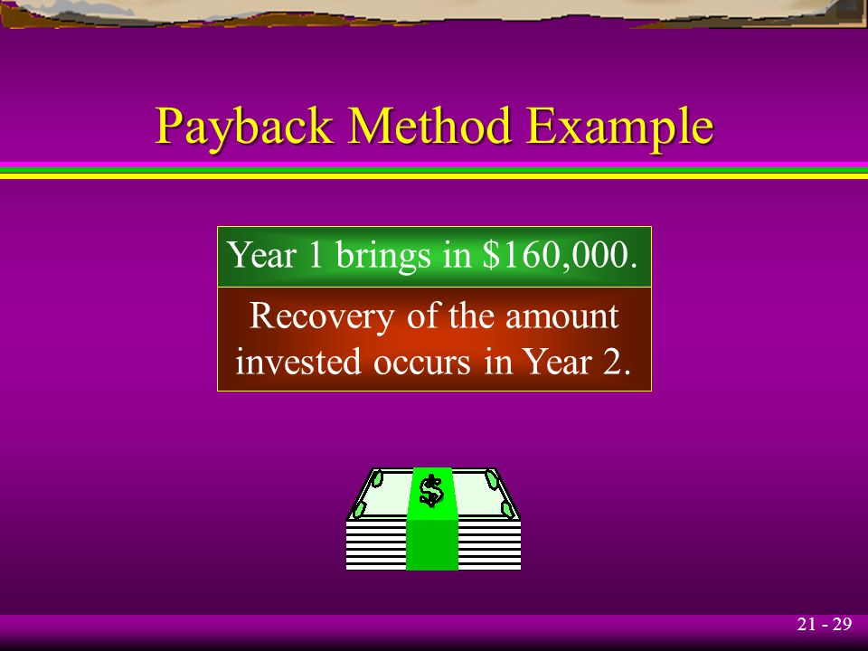 21 - 29 Payback Method Example Year 1 brings in $160,000. Recovery of the amount invested occurs in Year 2.