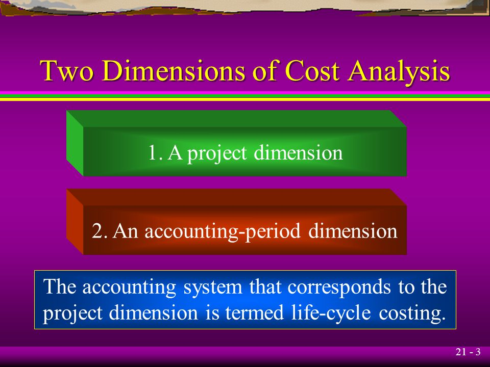 21 - 3 Two Dimensions of Cost Analysis 1. A project dimension 2. An accounting-period dimension The accounting system that corresponds to the project