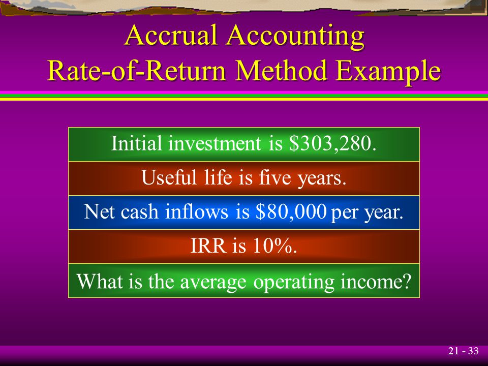 21 - 33 Accrual Accounting Rate-of-Return Method Example Initial investment is $303,280. Useful life is five years. Net cash inflows is $80,000 per ye