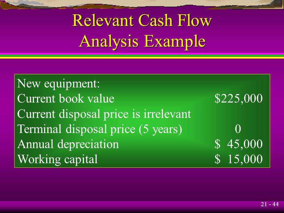 21 - 44 Relevant Cash Flow Analysis Example New equipment: Current book value$225,000 Current disposal price is irrelevant Terminal disposal price (5