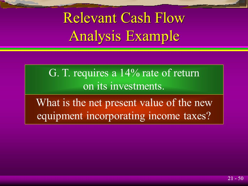 21 - 50 Relevant Cash Flow Analysis Example G. T.