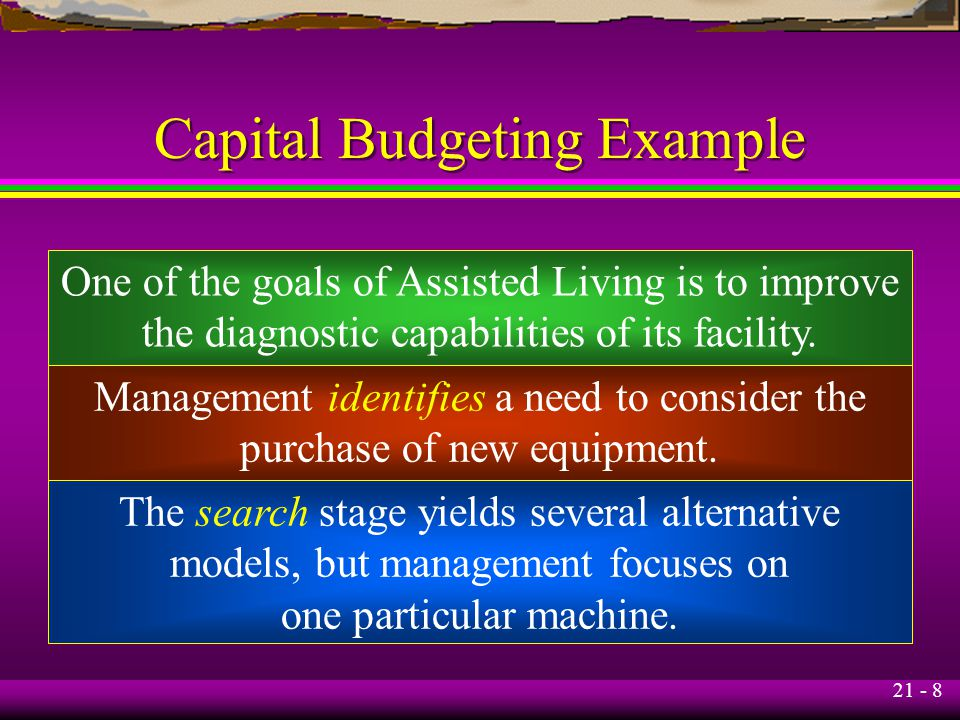 21 - 8 Capital Budgeting Example One of the goals of Assisted Living is to improve the diagnostic capabilities of its facility.