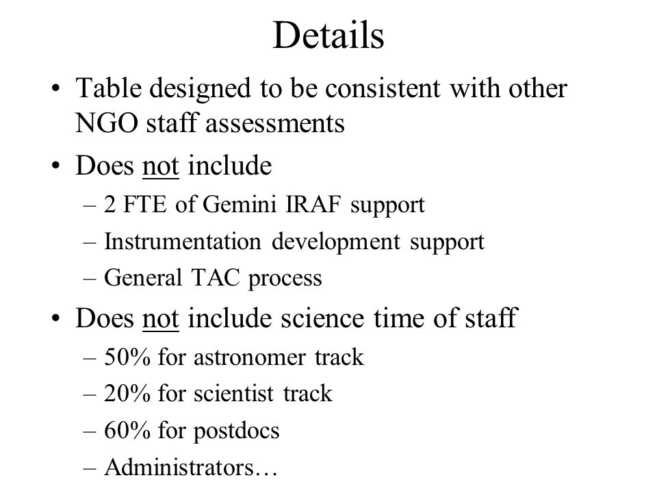 Details Table designed to be consistent with other NGO staff assessments Does not include –2 FTE of Gemini IRAF support –Instrumentation development support –General TAC process Does not include science time of staff –50% for astronomer track –20% for scientist track –60% for postdocs –Administrators…