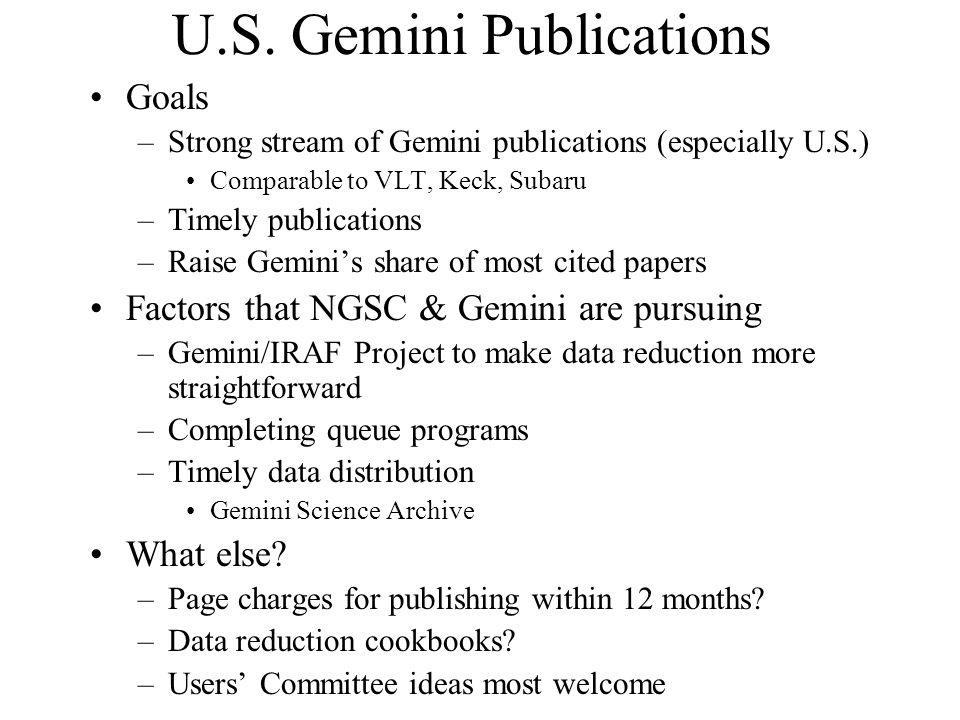 U.S. Gemini Publications Goals –Strong stream of Gemini publications (especially U.S.) Comparable to VLT, Keck, Subaru –Timely publications –Raise Gem
