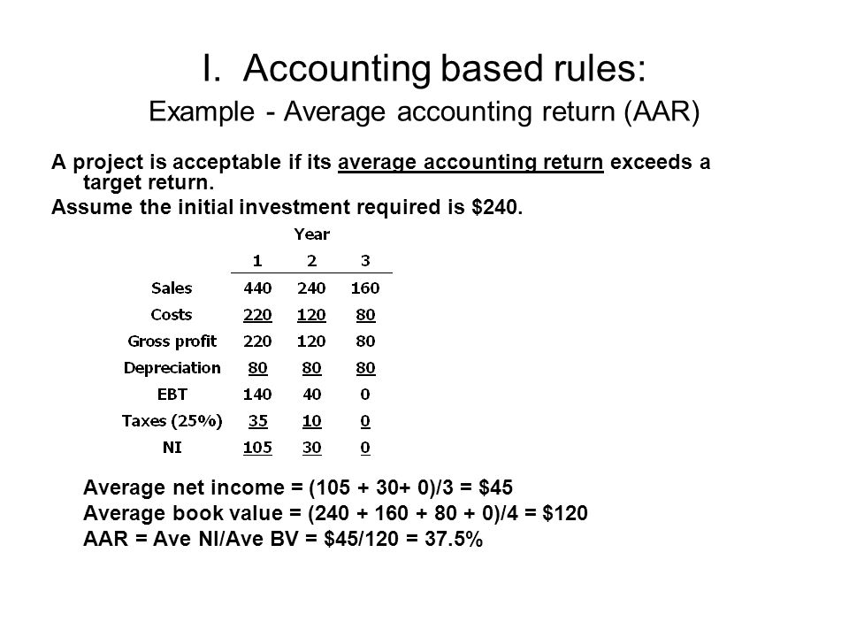 I. Accounting based rules: Example - Average accounting return (AAR) A project is acceptable if its average accounting return exceeds a target return.