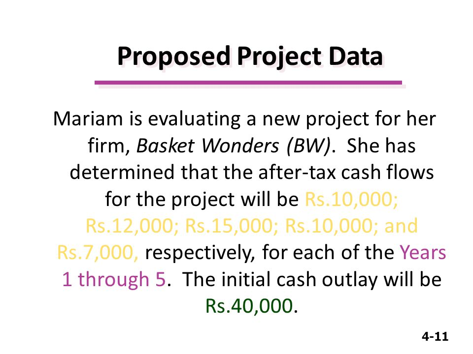 4-11 Proposed Project Data Mariam is evaluating a new project for her firm, Basket Wonders (BW).
