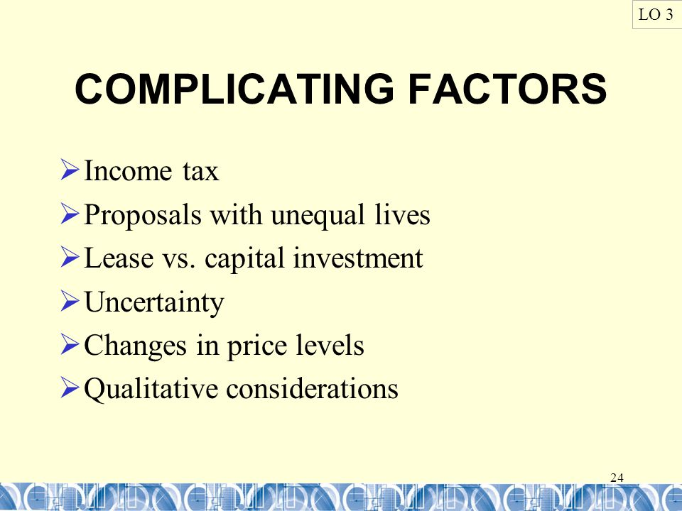 24 COMPLICATING FACTORS  Income tax  Proposals with unequal lives  Lease vs.