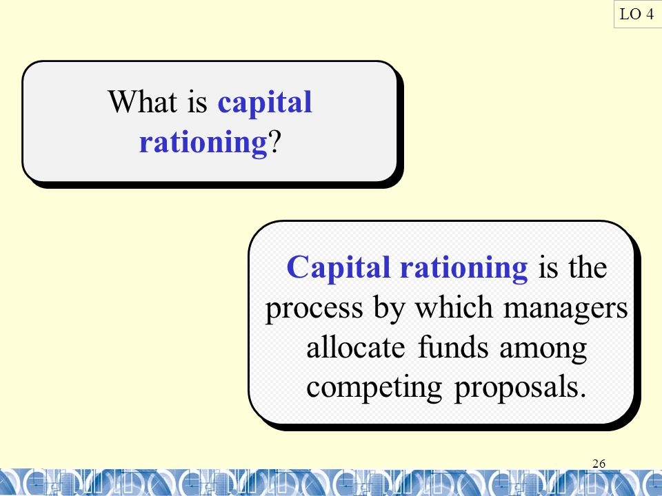 26 LO 4 What is capital rationing.