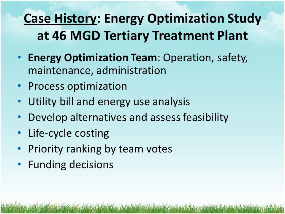 Case History: Energy Optimization Study at 46 MGD Tertiary Treatment Plant Energy Optimization Team: Operation, safety, maintenance, administration Pr